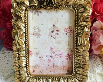 Gold Roses Photo Frame, Victorian Photo Frame, Golden Roses Frame, Antique Roses Frame