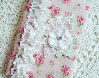 Roses Fabric Journal, Handmade Journal, Wedding Journal, Shabby Chic Notebook, Pink Roses Book