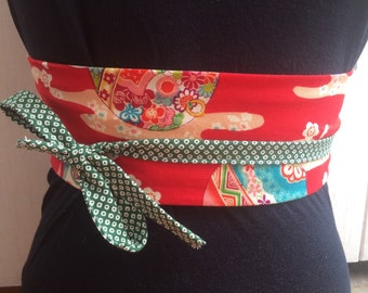 Japanese cotton obi belt - kimono red