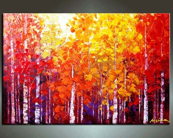 Original Contemporary Palette Knife Fine Art Painting Abstract Textured On Gallery Wrapped Canvas 36''X24''x1.5''Deep