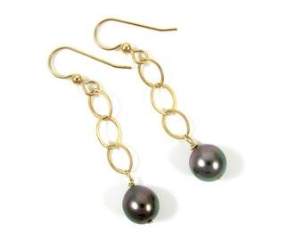 Tahitian Pearl Earrings, Gold Chain Dangle, Elegant Mother's Day Gift, Genuine Black Pearls, Handmade Maui, Gemstone Jewelry, Bridal Fashion
