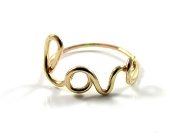 LOVE Ring, Gold, Anniversary, Sweetheart, Mothers Day, Bridesmaid Gift Idea, Wedding Accessory, Handmade Maui, Dainty, Wire Wrapped Jewelry