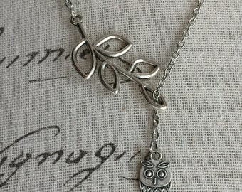 Branch and owl lariat necklace one of a kind clearanced