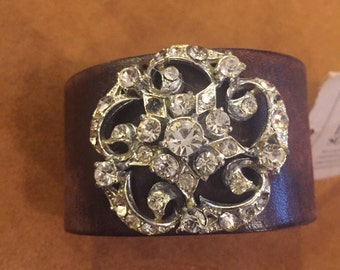 Dark Brown Leather Cuff Bracelet Adorned with Vintage Jewelry I714 madeinthedeepsouth