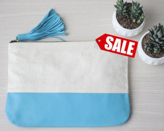 ColorBlock Leather Clutch. Bridesmaid Leather Clutch. Bridesmaid Purse. Bridesmaid Clutch Bag. Leather Wallet. Leather Tassel. Canvas Bag