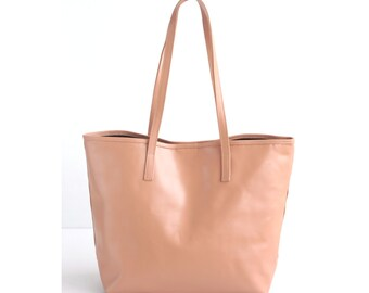 JAIMEE Rose Leather Tote bag. Blush Leather Bag. Tote Zipper Bag. Leather Hangbag. Women Handbag. School Tote Bag. Leather CarryAll