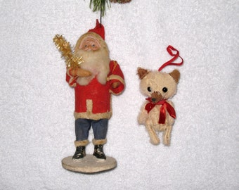 "1930s/40s Belsnickle Santa (Japan) and Vintage Jointed Fox Ornament / Belsnickel, Belznickle / 6 1/2"" Tall"