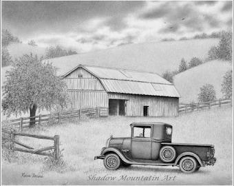 8x10 black and white giclee art print of graphite drawing landscape barn old truck signed by artist Karen Romine Grandpa's Sanctuary