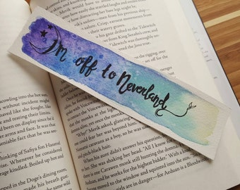 I'm Off to Neverland Peter Pan Watercolor Bookmark, Fairytale Bookmark
