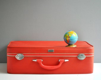 Bright Red Amelia Earhart Suitcase - Soft-Sided Vinyl Suitcase