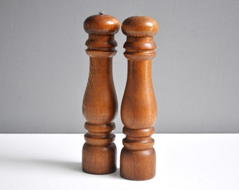 Extra Large Vintage Wooden Salt and Pepper Set - Vintage Pepper Mill