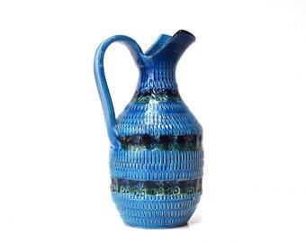 Rimini Blu Italian Ceramic Pitcher by Aldo Londi for Bitossi