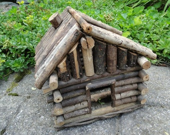 Rustic  twig Doll house planter cabin barn wooden