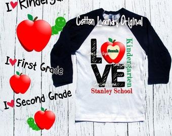 Back to School LOVE shirt Girl LOVE shirt Raglan baseball style tee shirt LOVE Apple Preschool, Kindergarten, First Grade and beyond