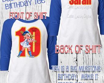 Double Digits birthday shirt for girls tee shirt for the hipster kid Happy Birthday Girl tee shirt Baseball taglan tee