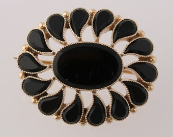 Vintage Onyx Brooch / Pendant - 10k Yellow Gold Floral Fine Women's Jewelry Q3532