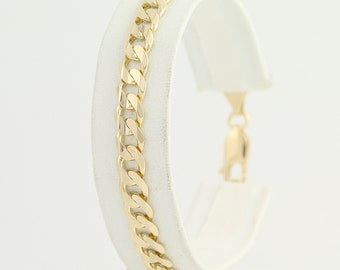 """Curb Chain Bracelet 7 1/4"""" - 14k Yellow Gold Lobster Claw Clasp L8921"""