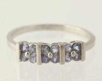 Tanzanite Flower Ring - 925 Sterling Silver Band Women's Fine Estate SZ 7.5 MQ508