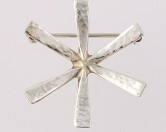 Hammered Silver Flower Pin - Sterling Silver Richard Parker Mid-Century Brooch q2357