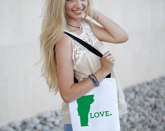 Vermont State Love Tote Bag // Travel Gift // College University Student Gift Idea // Free US shipping