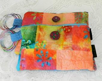 BATIK WRISTLET-Quilted Batik/Polymer Clay Button/Bangles