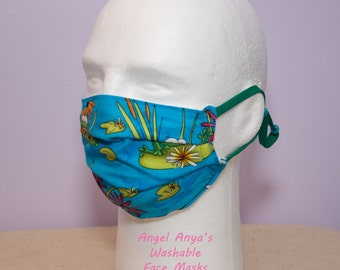 ReUsable Washable Medical Face Masks Adult & Child Frogs in a Pond Print