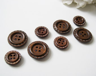 Wood Button Magnets - Extra STRONG Set of 8 Magnets Masculine Mens Brown for Magnetic Bulletin Boards Office Executive Refrigerator Fridge