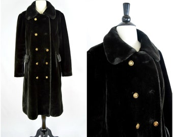 Vintage Borgazia black faux fur coat / long glam faux fur double breasted jacket / vintage outerwear