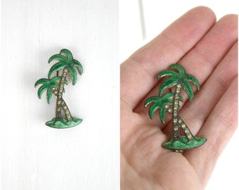 Vintage 1940's palm tree enamel and rhinestone pin / antique tropical brooch