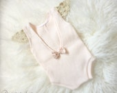 Newborn Pale Pink Romper, Baby Girl, Sweater Knit , Jumper, Romper, Bow, Vintage Lace, Photography Prop, Ready to Ship