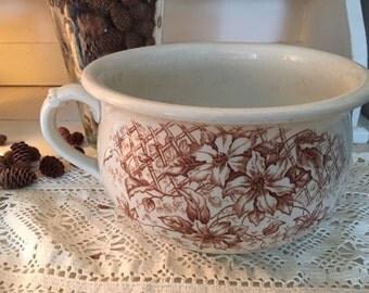 Gorgeous brown transferware chamber pot