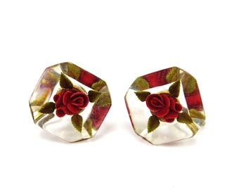 Vintage Flower Earrings, Red Rose Earrings, Reverse Carved Lucite, Earrings With Roses, 1950s Lucite Jewelry