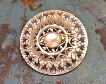 Vintage Flower Brooch Hand Carved Shell Mother Of Pearl MOP Snowflakes 1940s Vintage Jewelry