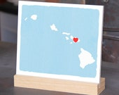 """HAWAII Hand Painted Desk display - Hawaiian office decor - 6""""x 6"""", Bookshelf display, Going Away gift for Family and Best friends BFF gift"""