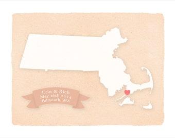 MASSACHUSETTS Personalized print - Home decor - Custom text Wedding gift Bridal shower Housewarming gift  Wedding guest book