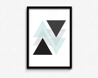 Mint Geometric Triangle • Abstract Print • Graphic Poster • Printable Wall Art • Digital Printable • Instant Download