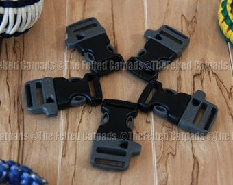 "5 ITW Nexus WhistleLoc 3/4"" Gray Whistle Buckles - for Paracord Bracelets Flat Webbing"