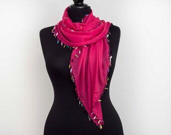 Turkish oya scarf,hand crocheted  lace scarf, fuchsia