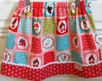 Little Red Riding Hood Blocks skirt   (18 mos.,  2T, 3T, 4T, 5, 6, 7, 8, 10)