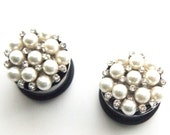 """3/4"""" 19mm Pearl Cluster Plugs  - Wedding Prom Formal 316L Surgical Stainless Steel Double Flared Plugs for Stretched Ears- Gauges"""