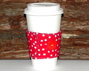 Fabric Coffee Cozy Sleeve - Reusable insulated Tea Cozy-Hot or Cold drink - Polka dots in red, grey and white