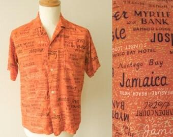 super cool 1950s vintage short sleeve men's shirt orange size M loop collar VLV rockabilly hepcat