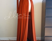 ready to ship  rust jersey gown with  long off shoulder sleeves/bridal gown/senior prop