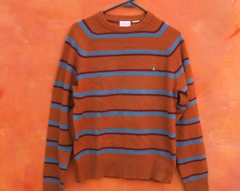 Vintage 1960s Men's Penguin Munsingwear Striped Pullover Sweater. Golden Brown Dk Brown Teal. Small Medium. Stripes