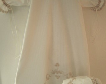White and Ecru Baby Daygown with matching Bonnet