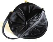 Vintage 40s Purse, Black Satin Purse, 1940 Round Black Handbag