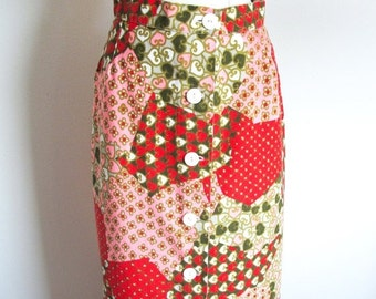 Valentine 1/2 Off Sale Vintage 60s Maxi Skirt, Red  Cotton Print  Hippie Skirt, Patchwork Print Skirt, Fritzi of California