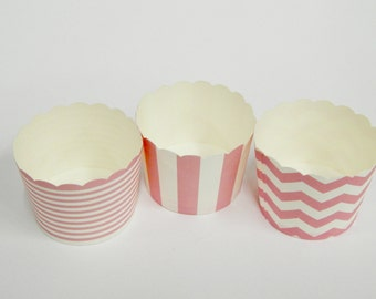 Cupcake Baking Cups, 20 Pink Baking Cups, Candy / Nut Cup, Baking Cups, Ring Stripe, Vertical Stripe, Chevron, Muffin Liners, Cupcake