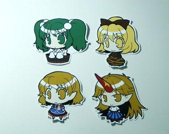 Touhou Project Art Sticker 8Pcs. Yamame, Parsee, Rin, Yugi Free Shipping