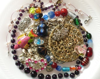 Vintage Lot Broken Jewelry for Repair Repurpose Crafts Purple Glass Beads Lampwork Wooden Fish Pink Rhinestones